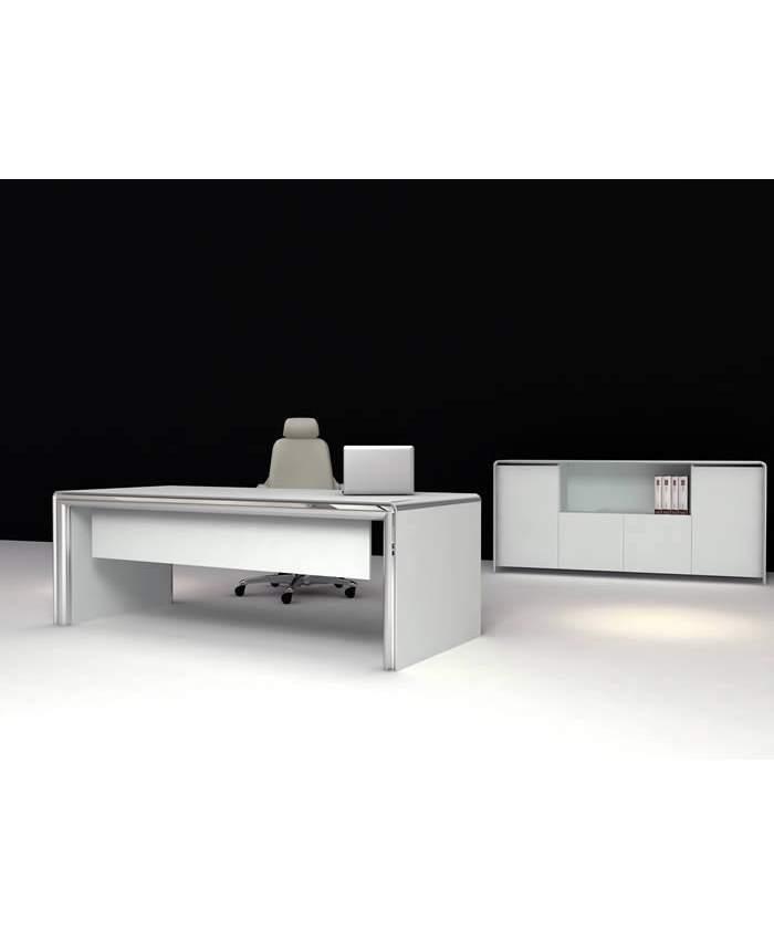 Beyaz Modern Ahşap Ofis Makam Masası ve Dolabı