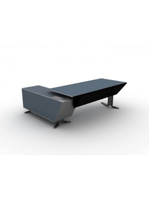 Dolaplı Etajerli Metal Ayaklı Modern Ofis Makam Masası