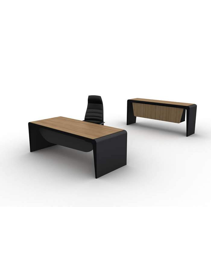İki Renkli Modern Ahşap Makam Masası ve Konsolu