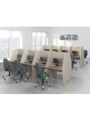 Dört Ön Dört Arka Bölmeli Çağrı Merkezi Masası - Çağrı Merkezi Masaları