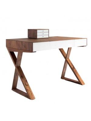 Ahşap Çapraz Ayaklı Beyaz Çekmeceli Ofis ve Ev Çalışma Masası-bd326 Çalışma Masaları