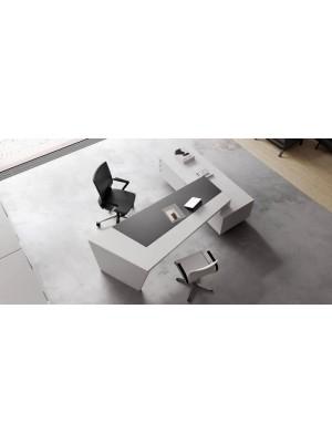 Bir Tarafı Etajerli Beyaz Antrasit Modern Çalışma Masası