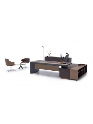 Dolaplı Etajerli Modern Ofis Makam Takımı - Makam Masaları