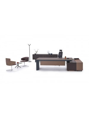 Dolaplı Etajerli Modern Ofis Takımı ve Cam Sehpalı Bekleme Berjerler - Makam Masaları