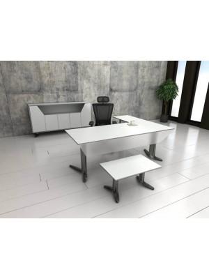 Beyaz Ahşaplı Metal Ayaklı Modern Ofis Makam Takımı - Makam Takımları