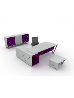 Cam Detaylı Metal Ayaklı Modern Ofis Makam Takımı - Makam Takımları
