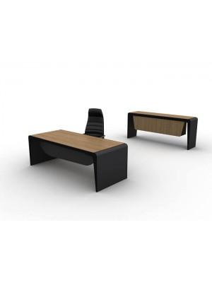 İki Renkli Modern Ahşap Makam Masası ve Konsolu - Makam Takımları