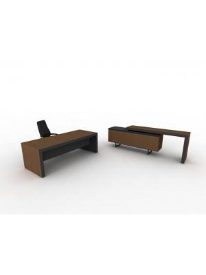 İki Renkli Modern Ahşap Ofis Masası ve Açılabilir Konsolu - Makam Takımları