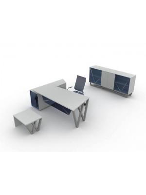 Metal Ayaklı Cam Detaylı Modern Ofis Makam Takımı