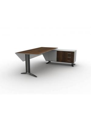 Metal Ayaklı Dolaplı Çekmeceli Etajerli Ofis Masası - Makam Takımları