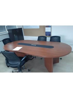 Ortası Deri Kaplı Oval Elips Toplantı Masası - Toplantı Masaları