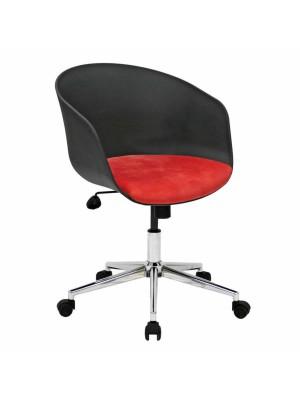 Siyah Plastik Gövdeli Kırmızı Döşemeli Oturma Yüzeyli Çalışma Toplantı Koltuğu - Sekreter Koltukları